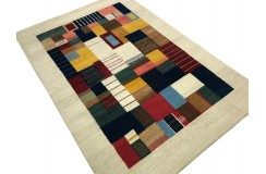 Ekskluzywny dywan Gabbeh Loribaft Patchowrk Indie różne rozmiary 100% wełniany beżowy, kolorowy
