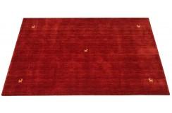 Gładki 100% wełniany dywan Gabbeh Handloom czerwony 120x180cm delikatne wzory