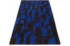 Designerski nowoczesny dywan wełniany CITY 3D 120x180cm Indie 2cm gruby niebieski