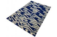 Designerski nowoczesny dywan wełniany LABIRYNT 3D 120x180cm Indie 2cm gruby niebieski