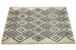 Skandynawski geometryczny dywan wełniany RUG COLLECTION 120x180cm Indie 2cm gruby ecru czarny
