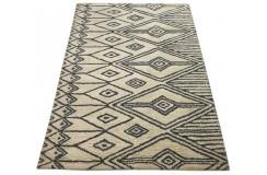 Skandynawski geometryczny dywan wełniany RUG COLLECTION 120x180cm Indie 2cm gruby beżowy czarny