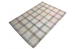 Nowoczesny geometryczny kolorwy dywan wełniany 110x170cm Indie 2cm gruby biały kolorowy