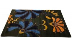 Kolorowy dywan do salonu design w kwiaty 100% wełna 150x240cm Indie ręcznie wycinane wzory