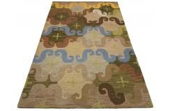 Kolorowy kwiatowy dywan RUG COLLECTION do salonu nowoczesny design 100% wełna 150x240cm Indie