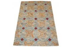 Kolorowy szaro brązowy abstrakcyjny dywan RUG COLLECTION do salonu nowoczesny design 100% wełna 150x240cm Indie