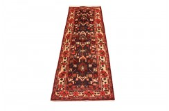 Perski wełniany recznie tkany dywan chodnik Hamadan z kwiatowymi ornamentami ok 100x300cm
