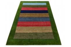 Kolorowy zielony delikatnie zdobiony dywan gabbeh 140x200cm wełna argentyńska w pasy