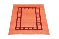Etniczny dywan ręcznie tkany perski Kaszkaj Gabbeh Iran 100% wełna gruby 110x110cm czerwony kwadratowy