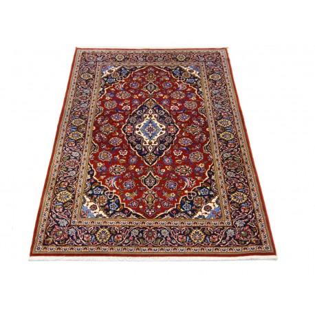 Czerwony oryginalny dywan Kashan (Keszan) półantyczny z Iranu wełna 140x200cm perski wełna kork