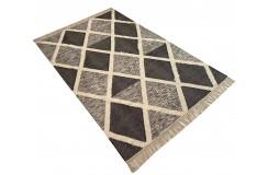Szary kilim Art Deco durry 100% wełniany dywan płasko tkany 240x300cm dwustronny Indie dwupoziomowy