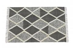 Szary kilim Art Deco durry 100% wełniany dywan płasko tkany 150x240cm dwustronny Indie dwupoziomowy