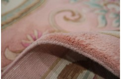 Piękny dywan Aubusson Habei ręcznie tkany z Chin 250x350cm 100% wełna przycinany rzeźbione kwiaty różowy