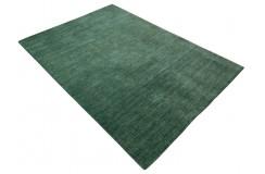 Gładki 100% wełniany dywan Gabbeh Handloom Lori zielony bez wzorów, różne wymiary