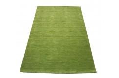 Gładki 100% wełniany dywan Gabbeh Handloom Lori trawiasty zielony bez wzorów, różne wymiary