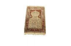 Hereke - unikatowy jedwabny dywan 120x180cm ręcznie tkany, Turcja islamski kaligraficzny majstersztyk sygnowany