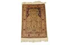 Hereke Ozpik- unikatowy jedwabny dywan 120x180cm ręcznie tkany, Turcja islamski kaligraficzny majstersztyk sygnowany