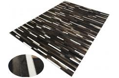 Naturalna skóra bydlęca dywan patchwork ok 200x300cm ciemna pasy