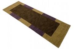 Brązowy 100% wełniany dywan Gabbeh w pasy chodnik 90x250cm