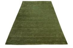 Gładki 100% wełniany dywan Gabbeh Handloom Lori ciemny zielony bez wzorów, różne wymiary
