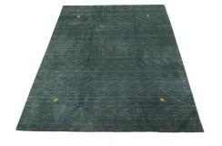 Gładki 100% wełniany dywan Gabbeh Handloom zielony 250x300cm delikatne motywy zwierzęce