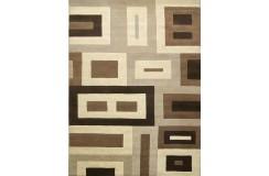 Welniany ręcznie tkany dywan Nepal Premium 170x240cm salonowy brązy geometryczny