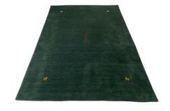 Gładki 100% wełniany dywan Gabbeh Loribaft zielono-szary 170x240cm delikatne motywy zwierzęce