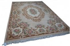 Piękny dywan Aubusson Habei ręcznie tkany z Chin 250x350cm 100% wełna przycinany rzeźbione kwiaty beżowy brązowy