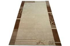 Welniany ręcznie tkany dywan Nepal Premium beżowy 200x300cm