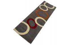 Szary, kolorowy nowoczesny dywan RUG COLLECTION chodnik 100% wełniany 65X185cm Indie