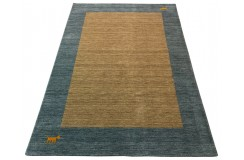 Ekskluzywny dywan Gabbeh Loribaft Indie 170x240cm 100% wełniany beżowy, niebieski