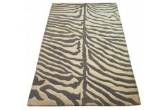 Designerski nowoczesny dywan wełniany ZEBRA 120x180cm Indie 2cm gruby beżowy