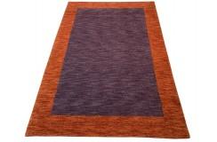 Ekskluzywny dywan Gabbeh Loribaft Indie 170x240cm 100% wełniany fioletowy, ceglasty