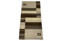 Welniany ręcznie tkany dywan Nepal Premium w prostokąty brązowo-beżowy 70x140cm