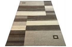 Welniany ręcznie tkany dywan Nepal Premium w prostokąty brązowo-beżowy 170x240cm