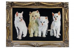 Dywan Tabriz 50Raj wełna kork najwyższej jakości i jedwab dywan z Iranu obrazowy Koty