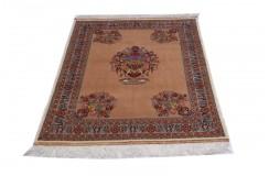 Luksusowy antyczny dywan z Afganistanu na jedwabnej osnowie kwiatowy ręcznie tkany 113x196cm XIX wiek cenny