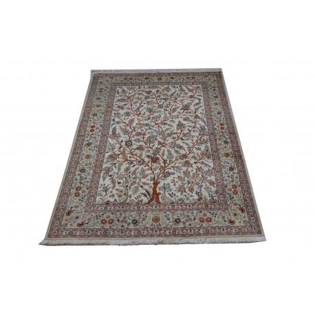 KOM - unikat perski dywan (GHOM) 100% jedwab ręcznie tkany Iran oryginalny 145x220cm drzewo życia, sygnowany