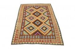 Kolorowy dywan kilim art deco 160x230cm z Afganistanu Chobi 100% wełna dwustronny vintage design nomadyczny