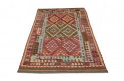 Kolorowy dywan kilim art deco 200x300cm z Afganistanu Chobi 100% wełna dwustronny vintage design nomadyczny