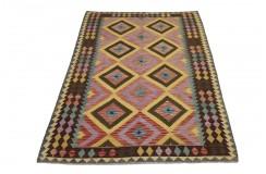 Kolorowy dywan kilim Maimana 165x245cm z Afganistanu 100% wełna dwustronny rustykalny