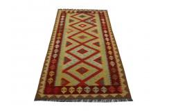 Kolorowy dywan kilim art deco 100x200cm z Afganistanu Maimana Chobi 100% wełna dwustronny vintage design nomadyczny