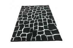 Grafitowy wełniany designerski dywan 2cm gruby 160x230cm vintage Indie