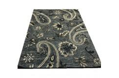 Szaryy wełniany designerski dywan 2cm gruby 150x240cm dwupoziomowy