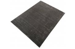 Gładki 100% wełniany dywan Gabbeh Handloom Szaro-brązowy 170x240cm etniczny