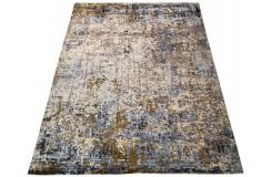 Unikatowy szary dywan jedwabny z Nepalu deseń vintage 250x300cm luksus