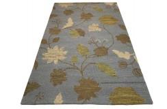 Kolorowy szary kwiatowy dywan RUG COLLECTION do salonu nowoczesny design 100% wełna 150x240cm Indie