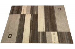 Welniany ręcznie tkany dywan Nepal Premium w prostokąty brązowo-beżowy 140x200cm
