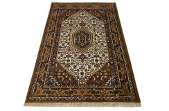 Wełniany ręcznie tkany dywan Bidjar Herati z Indii 120x180cm orientalny beżowy