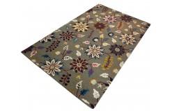 Kolorowy jasny kwiatowy dywan RUG COLLECTION do salonu nowoczesny design 100% wełna 150x240cm Indie